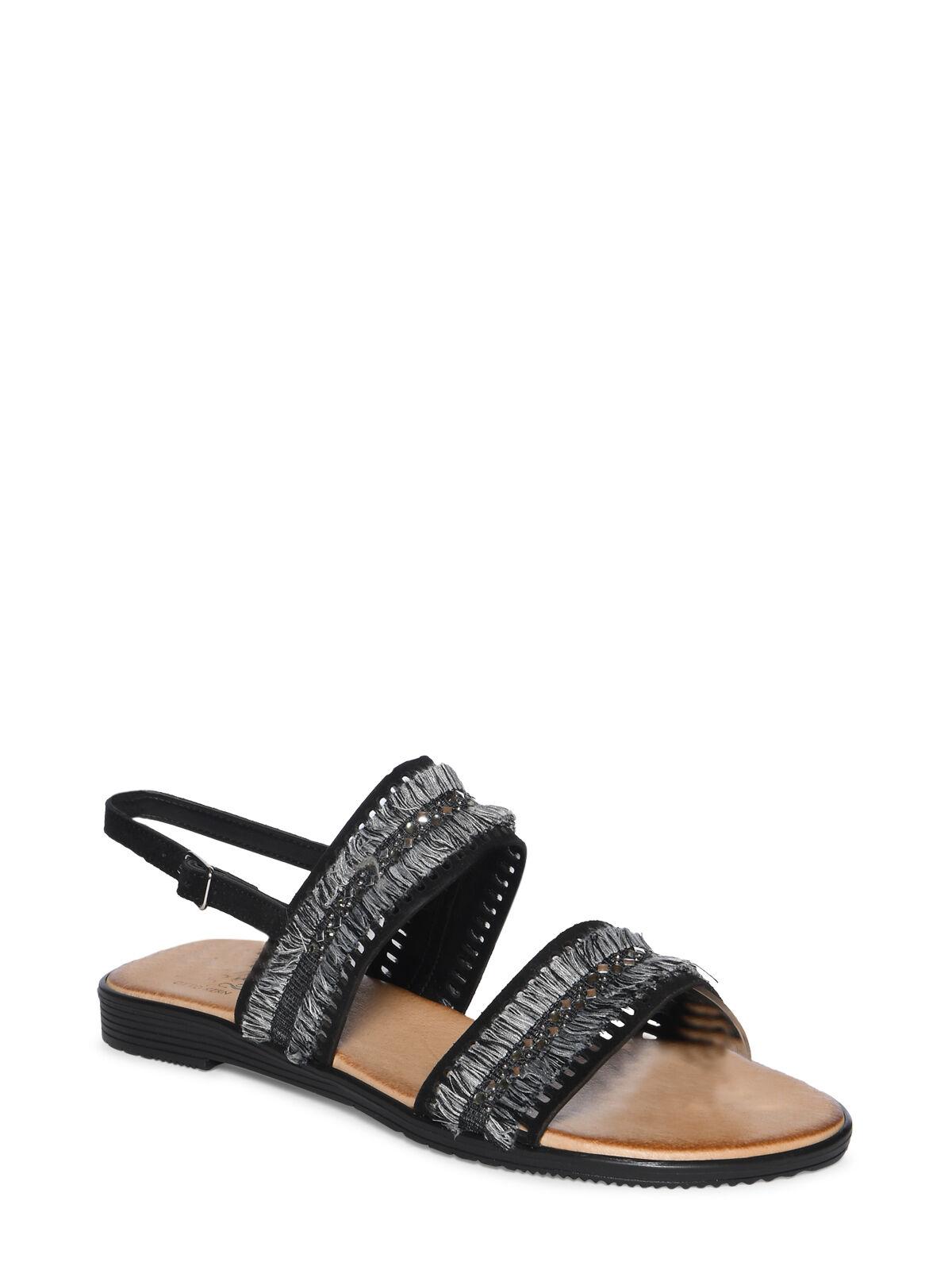sandalen mit fransen schwarz