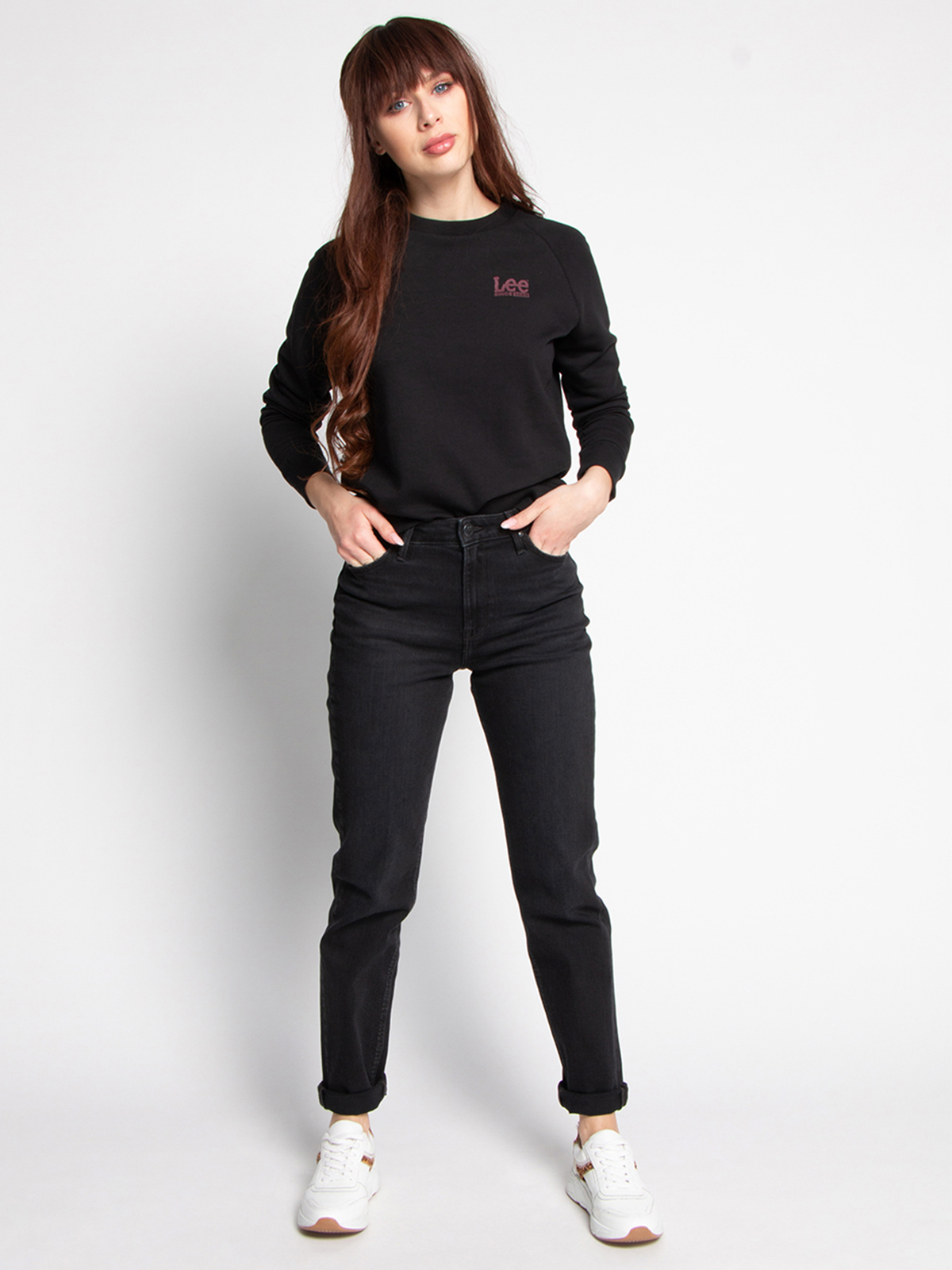 Lee Sweatshirt mit Logoprint schwarz | Dress for less