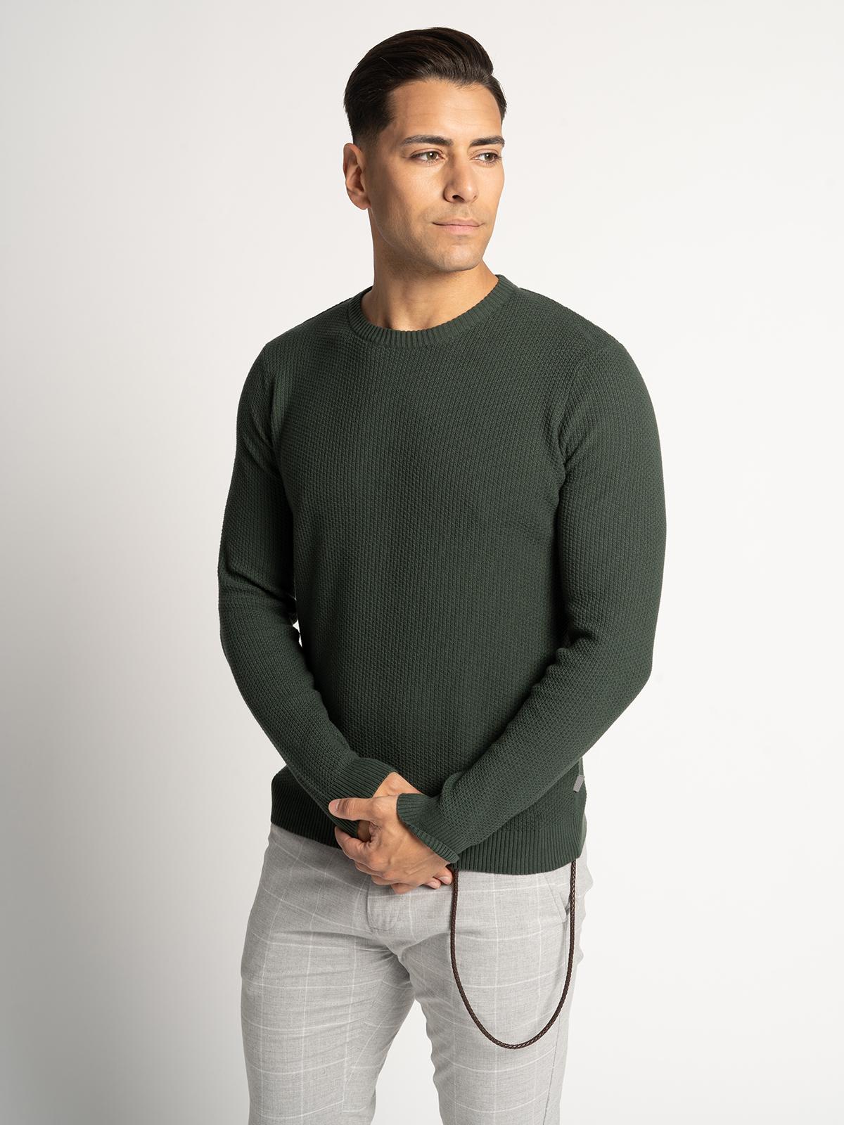 Solid Pullover in grün für Herren, Größe: XXL