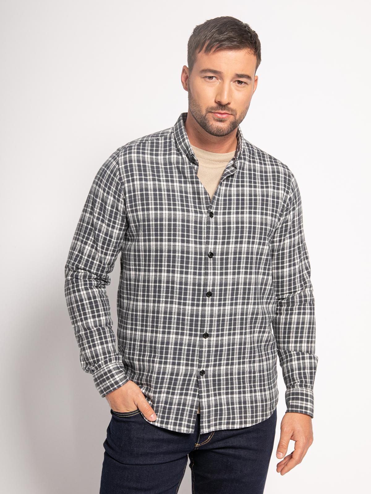Dstrezzed Flanellhemd Regular Fit in grau für Herren, Größe: S
