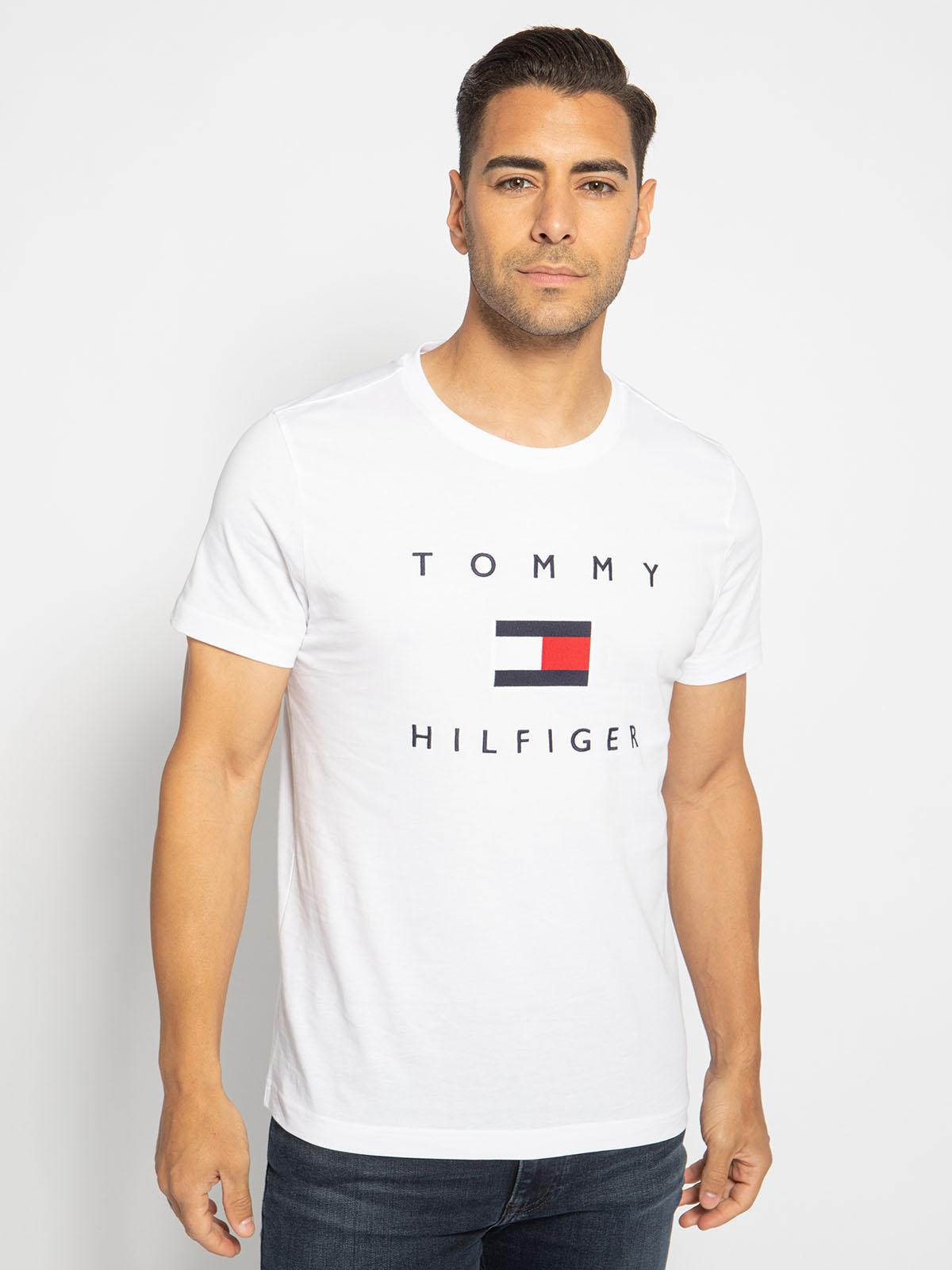 Tommy Hilfiger T-Shirt in weiss für Herren, Größe: XL. Tommy Flag Hilfiger Tee