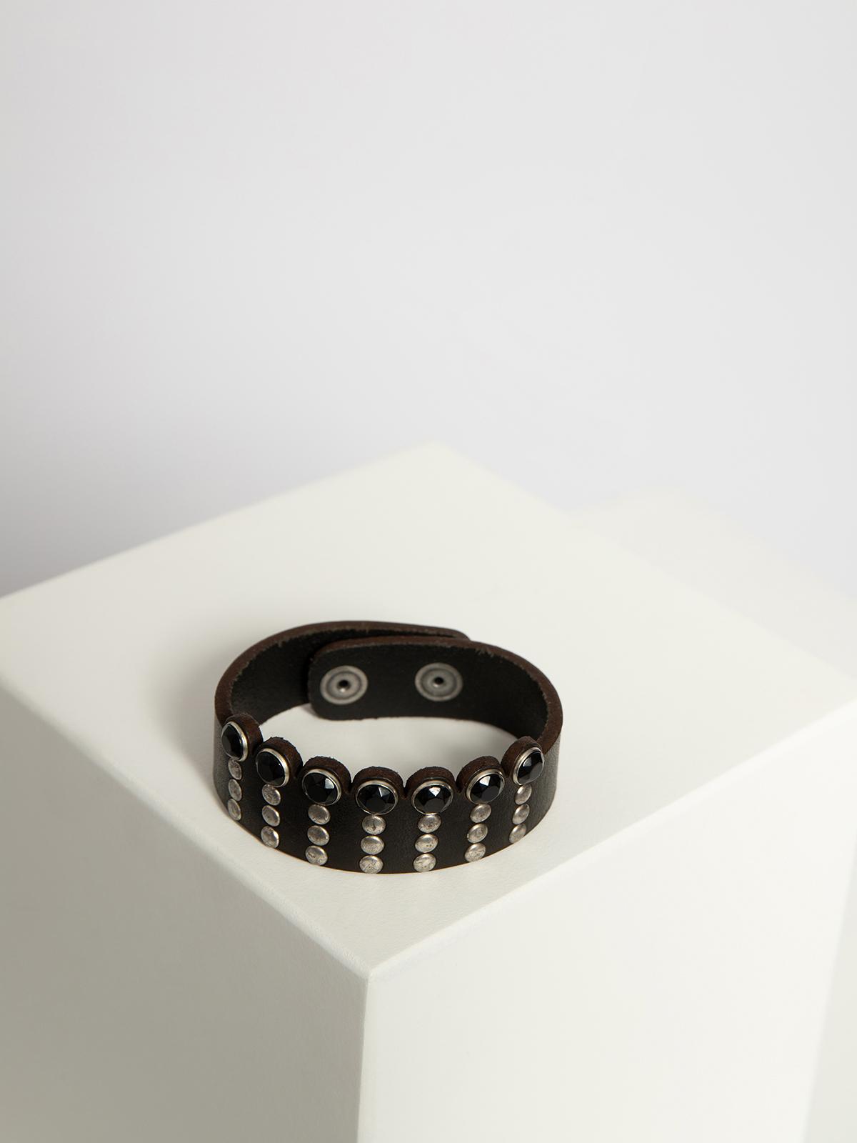 Replay Leren armband in zwart voor Dames, grootte: