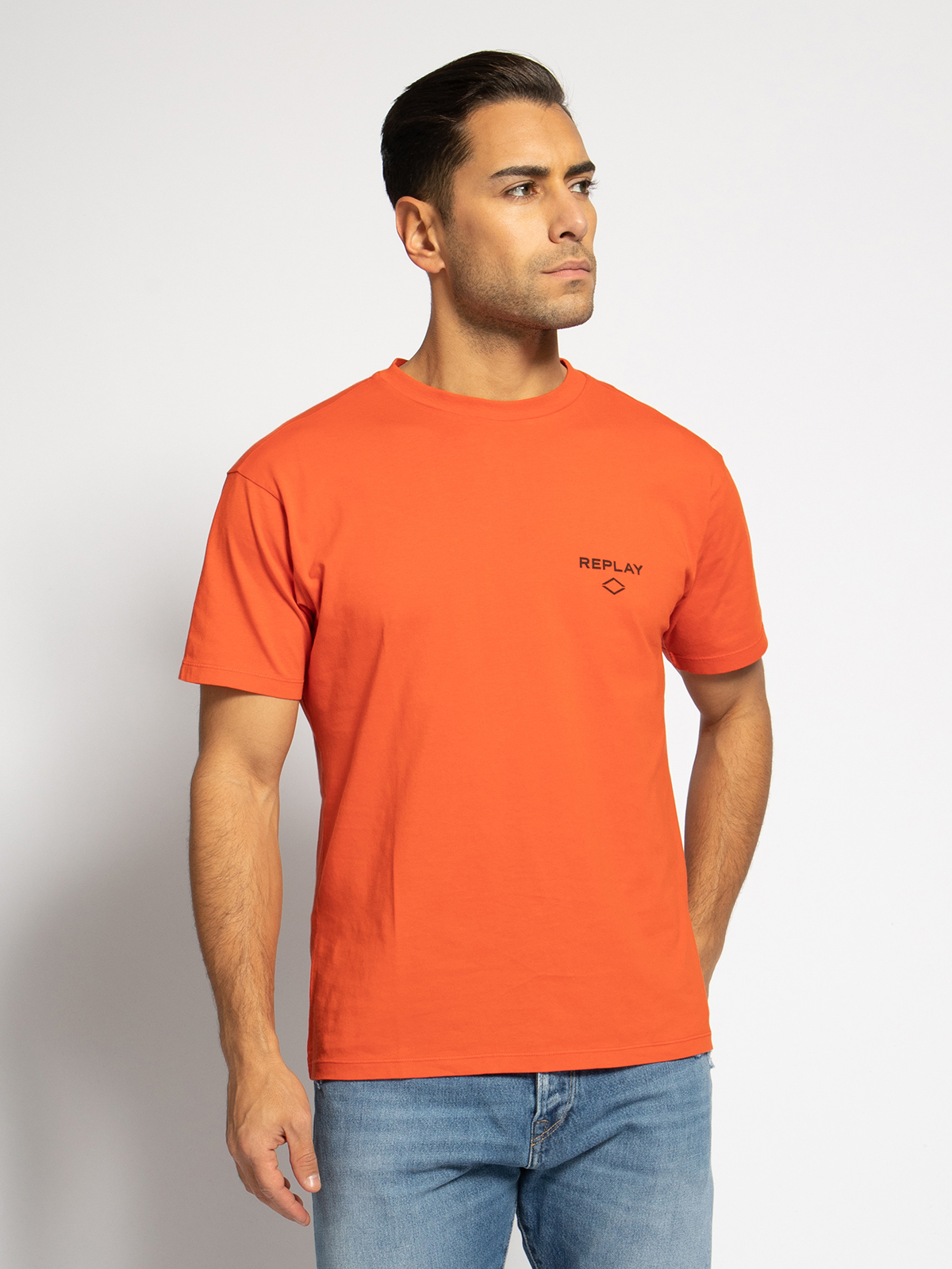 Replay T-Shirt in orange für Herren, Größe: M